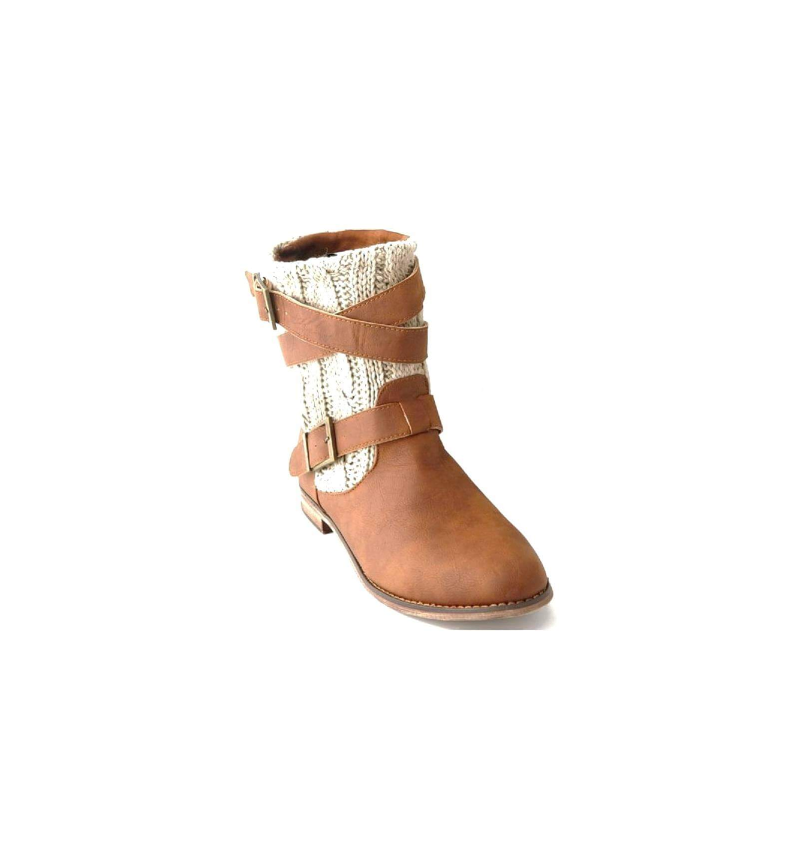 bottine femme en laine et simili cuir brides camel sandra. Black Bedroom Furniture Sets. Home Design Ideas