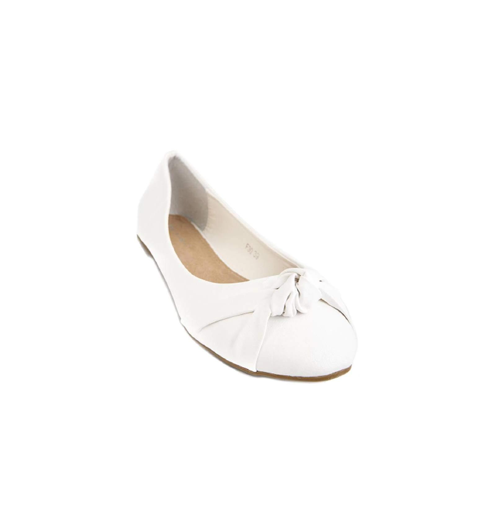 ballerine femme simili cuir blanc avec n ud flora. Black Bedroom Furniture Sets. Home Design Ideas