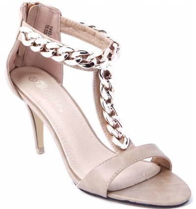 sandale femme simili cuir taupe talon avec cha ne dor e et zip fiama. Black Bedroom Furniture Sets. Home Design Ideas