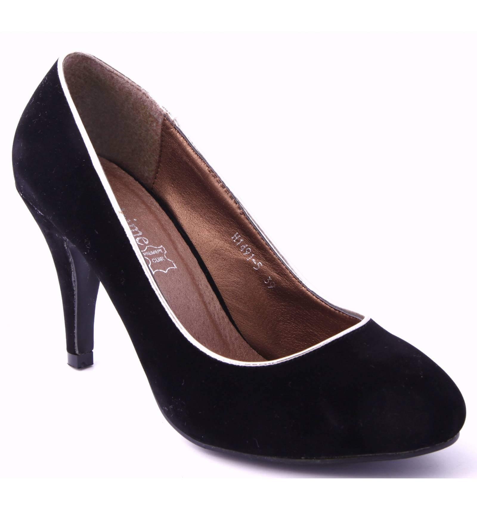 escarpin talon aspect su dine noir lana paris city shoes. Black Bedroom Furniture Sets. Home Design Ideas