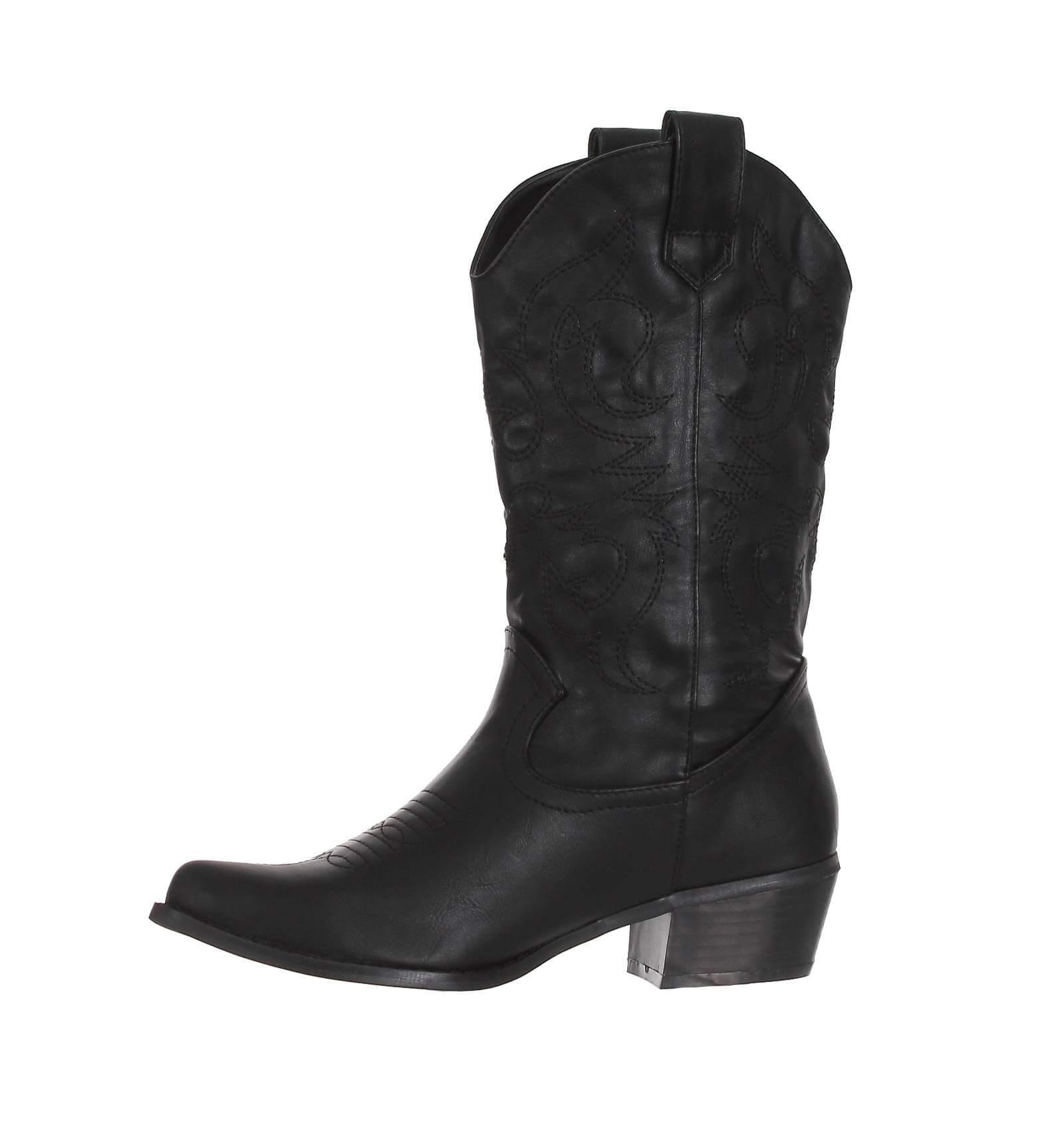 bottes femme simili cuir brod blanc western paris city shoes. Black Bedroom Furniture Sets. Home Design Ideas