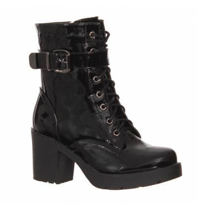 Bottines Noir Vernis Bottines Femme à Talon Noir