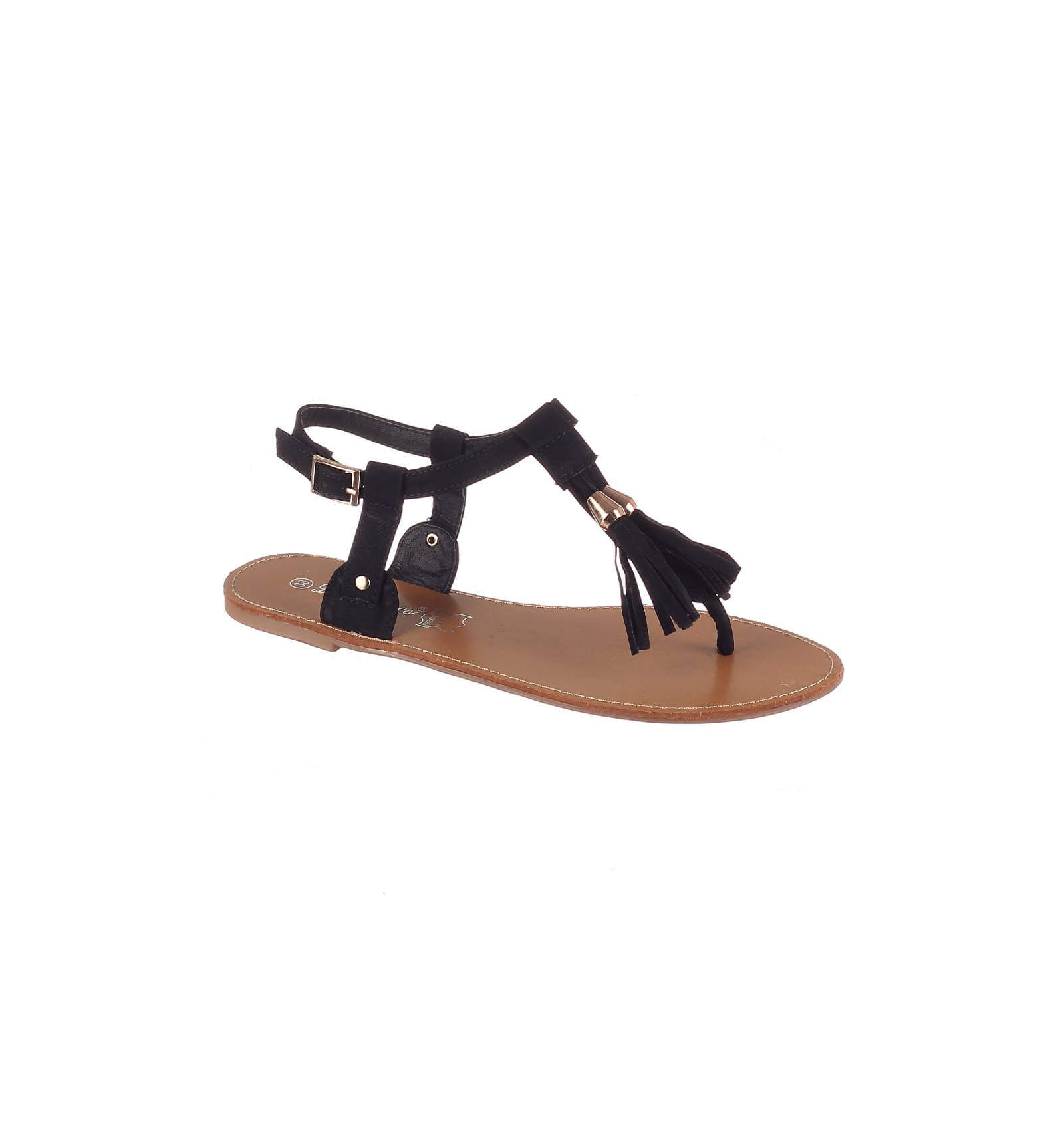 la paire de sandale pretty simili cuir frange noire et pompon. Black Bedroom Furniture Sets. Home Design Ideas