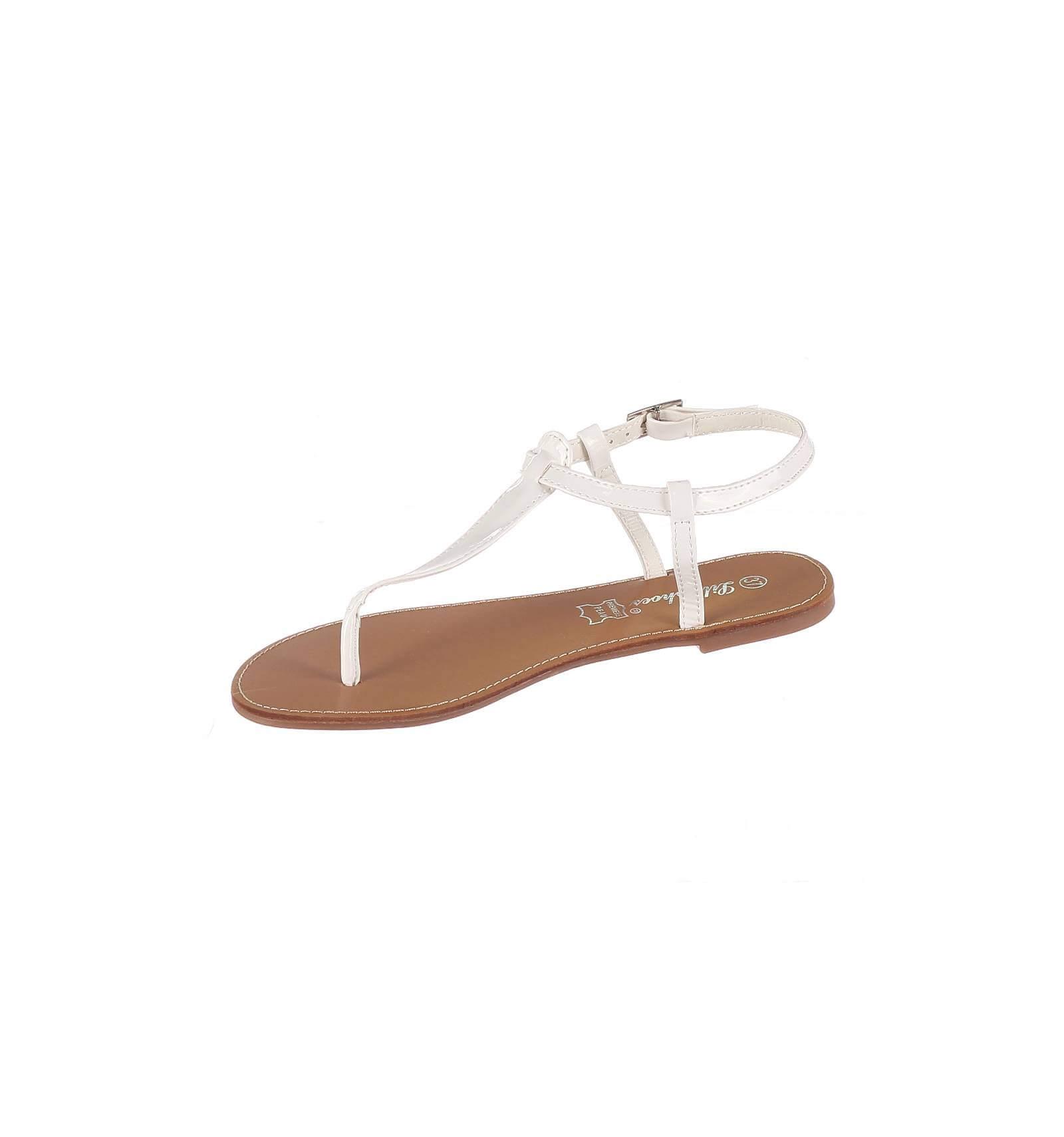 sandales femme plates blanc verni ibiza. Black Bedroom Furniture Sets. Home Design Ideas