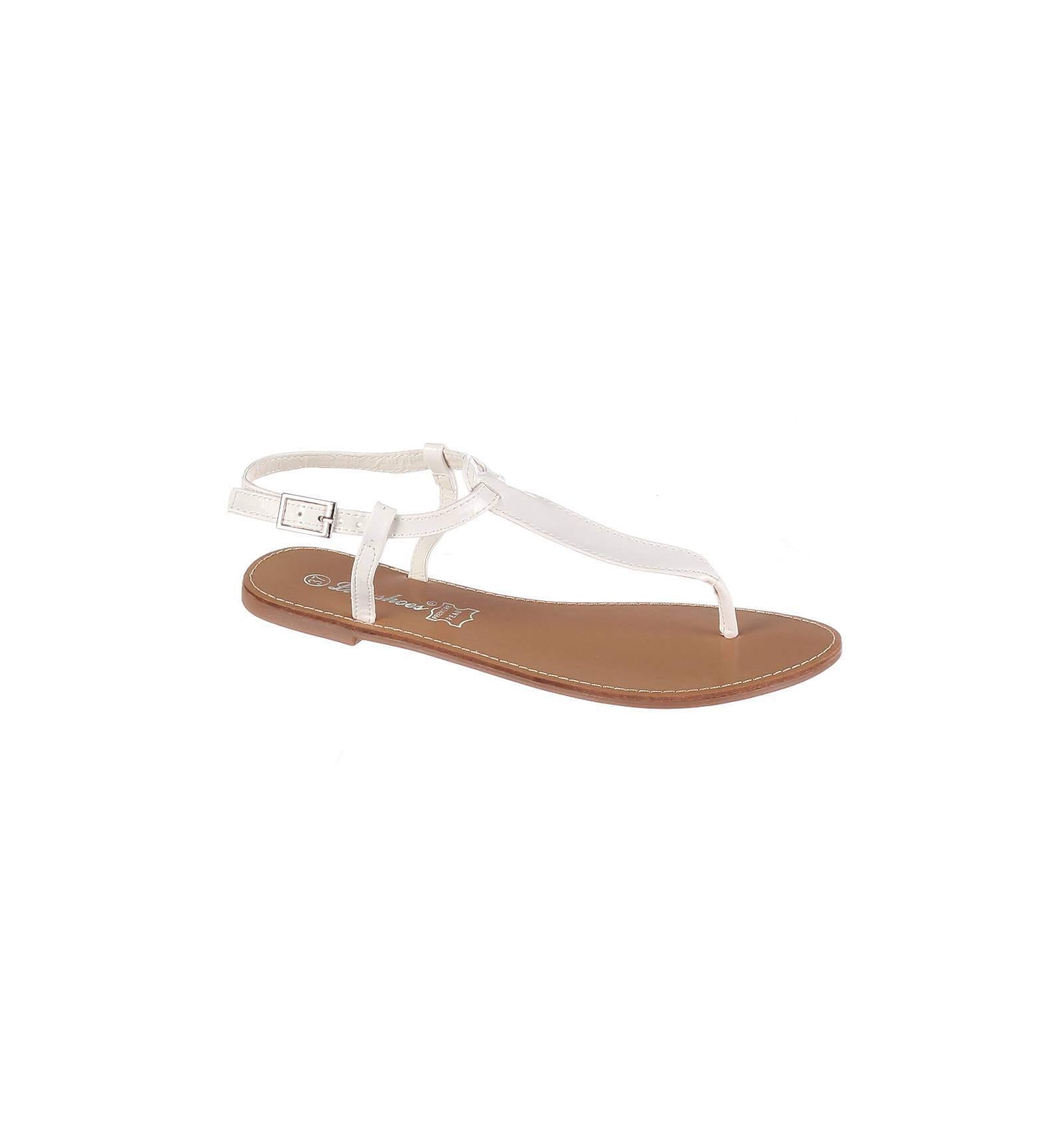 sandales femme plates blanc vernies mod le ibiza chic et glamour. Black Bedroom Furniture Sets. Home Design Ideas