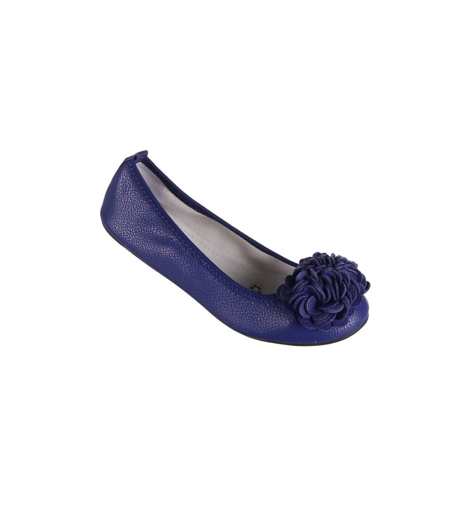 Ballerines femme souples bleu électrique à fleur MONCEAU
