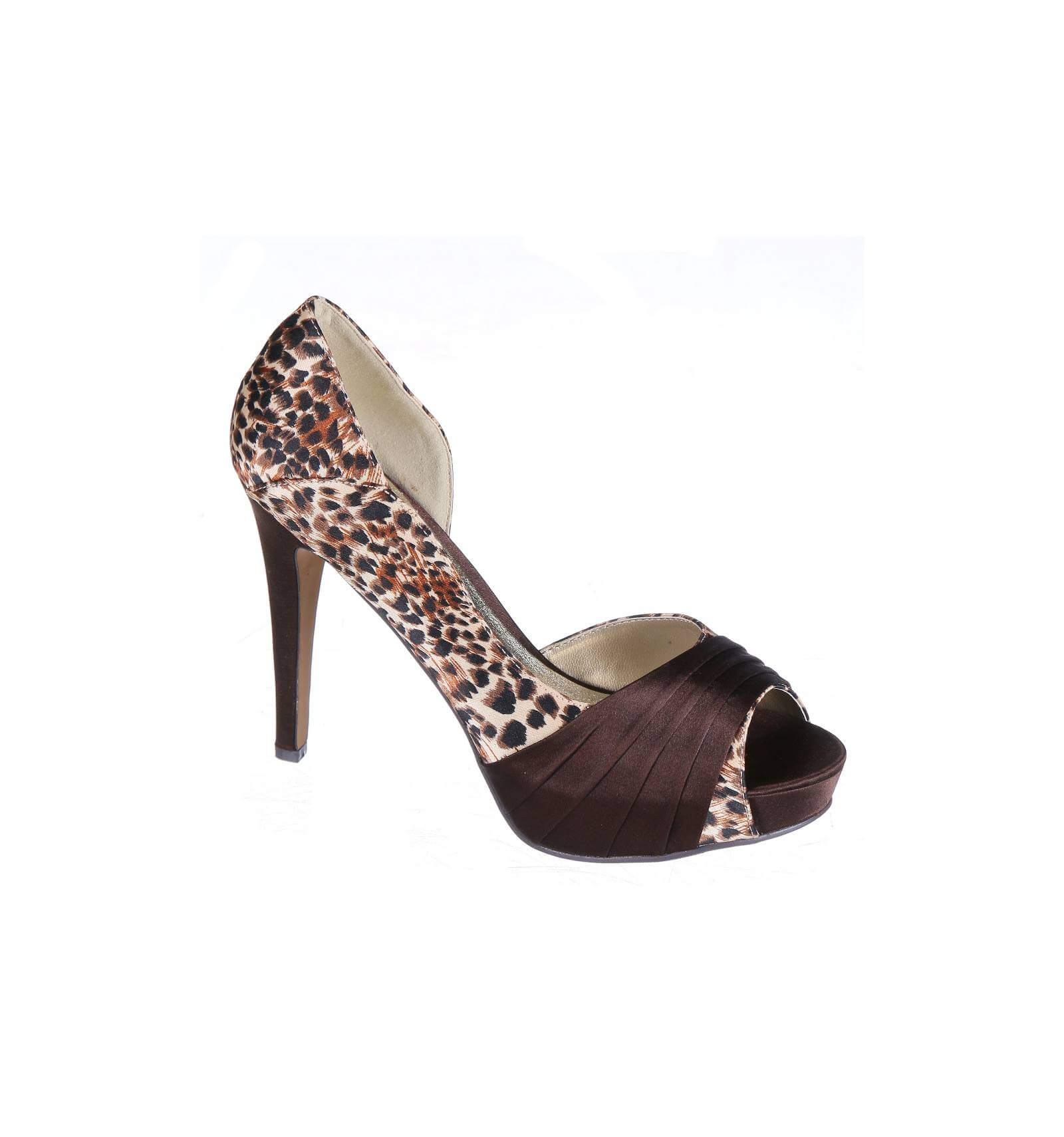 nerina leopard print faux leather high heel evening shoe