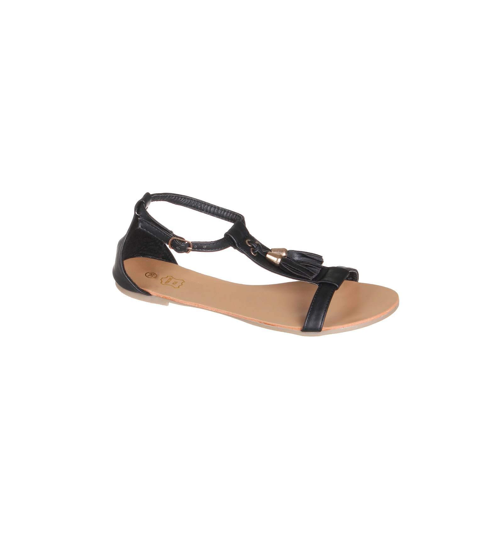 sandales femme franges noir juliana. Black Bedroom Furniture Sets. Home Design Ideas