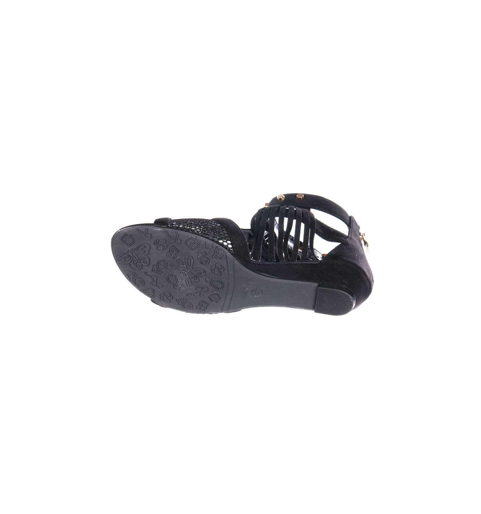 sandale femme compens e frange noire lucie. Black Bedroom Furniture Sets. Home Design Ideas