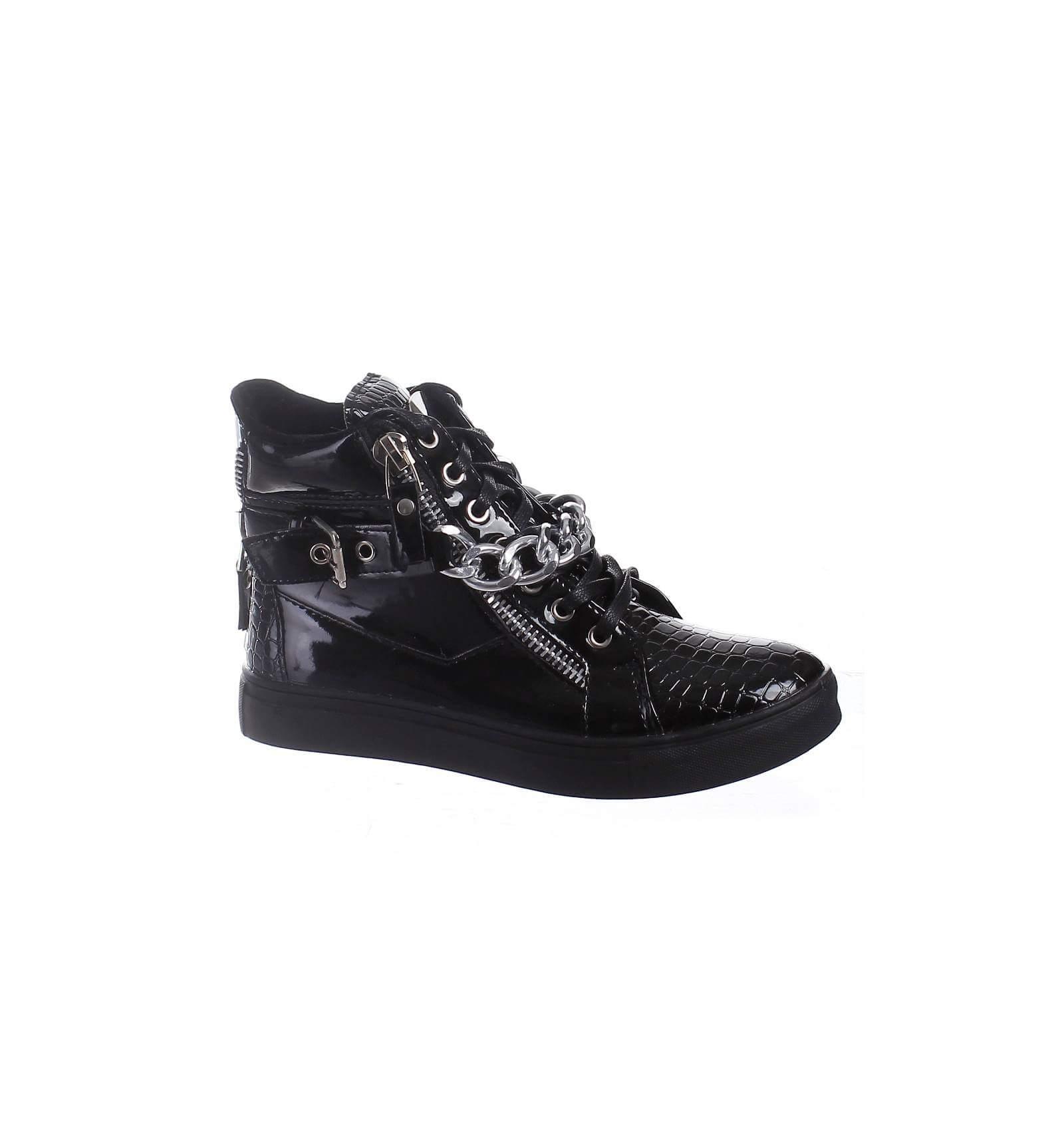 Baskets femme aspect serpent blanche fashion paris city shoes for Baskets blanches femme