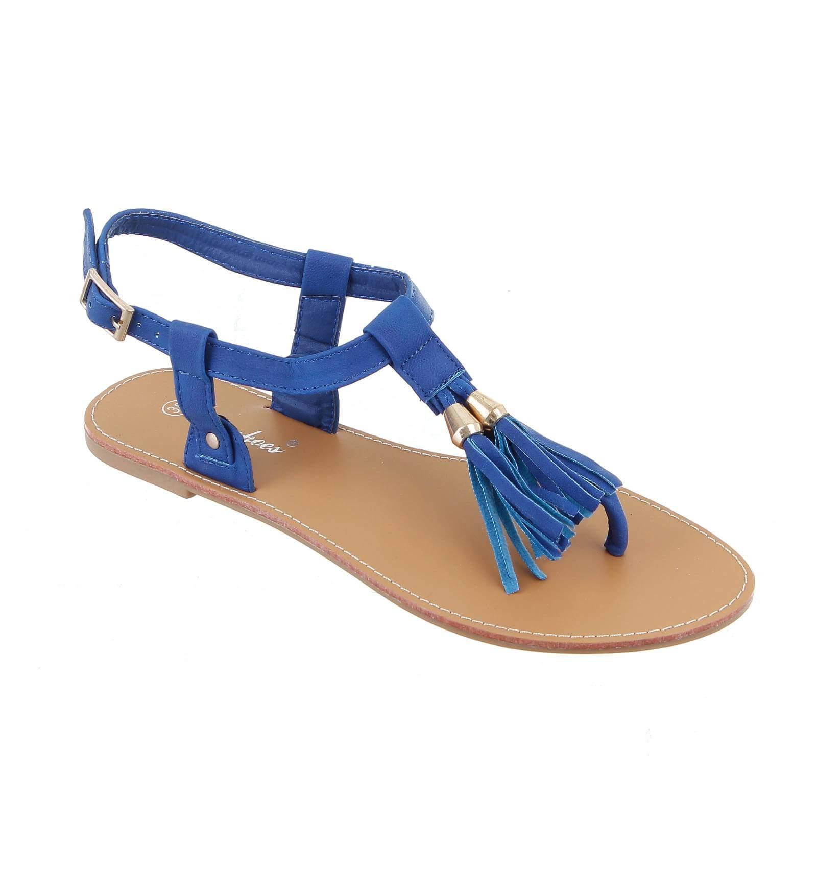 la paire de sandale pretty simili cuir frange bleue. Black Bedroom Furniture Sets. Home Design Ideas