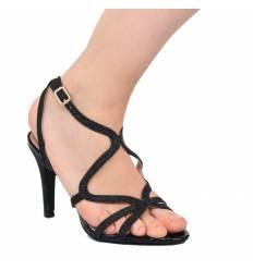 Sandales à talon femme avec paillette noire Cassandra
