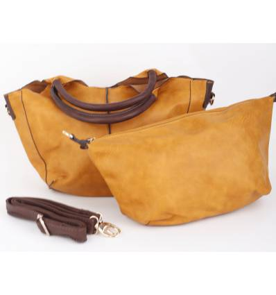 Sac à main double simili cuir camel Barbara