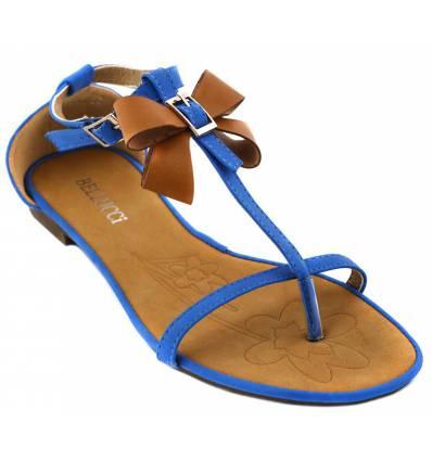 Sandales femme bleues et camel MONICA