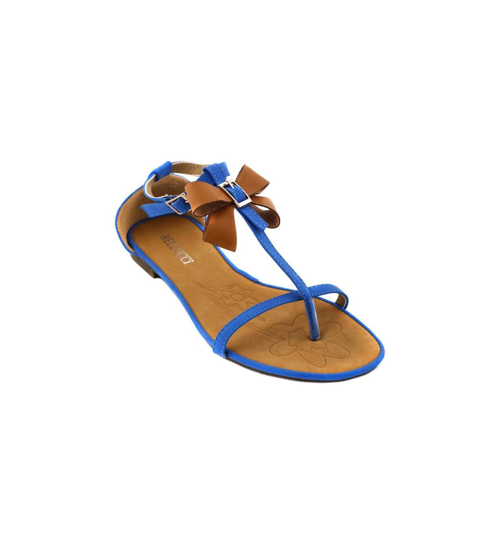 28cfa6eb2b6 Sandale femme simili cuir bleu à nœud papillon camel MONICA