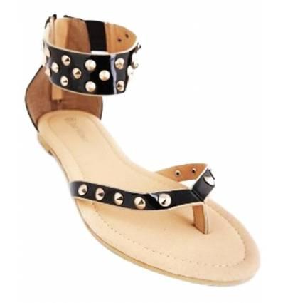 Sandales femme noire à clous dorés Anaëlle