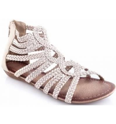 Sandale spartiate compensée beige ELENA