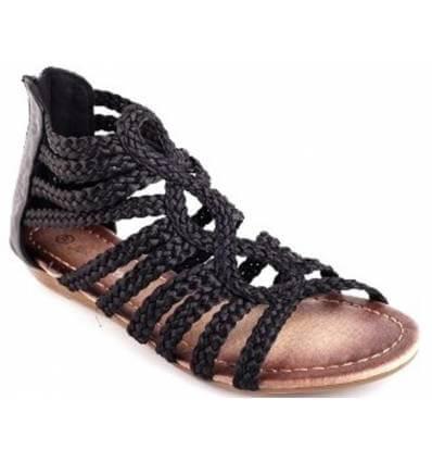 Sandale spartiate compensée noir ELENA