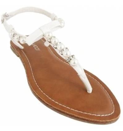 Nu-pieds à strass et perle blanc LISA