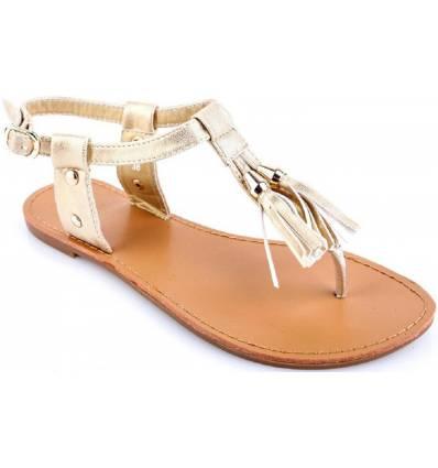 Sandales femme à franges dorées PRETTY