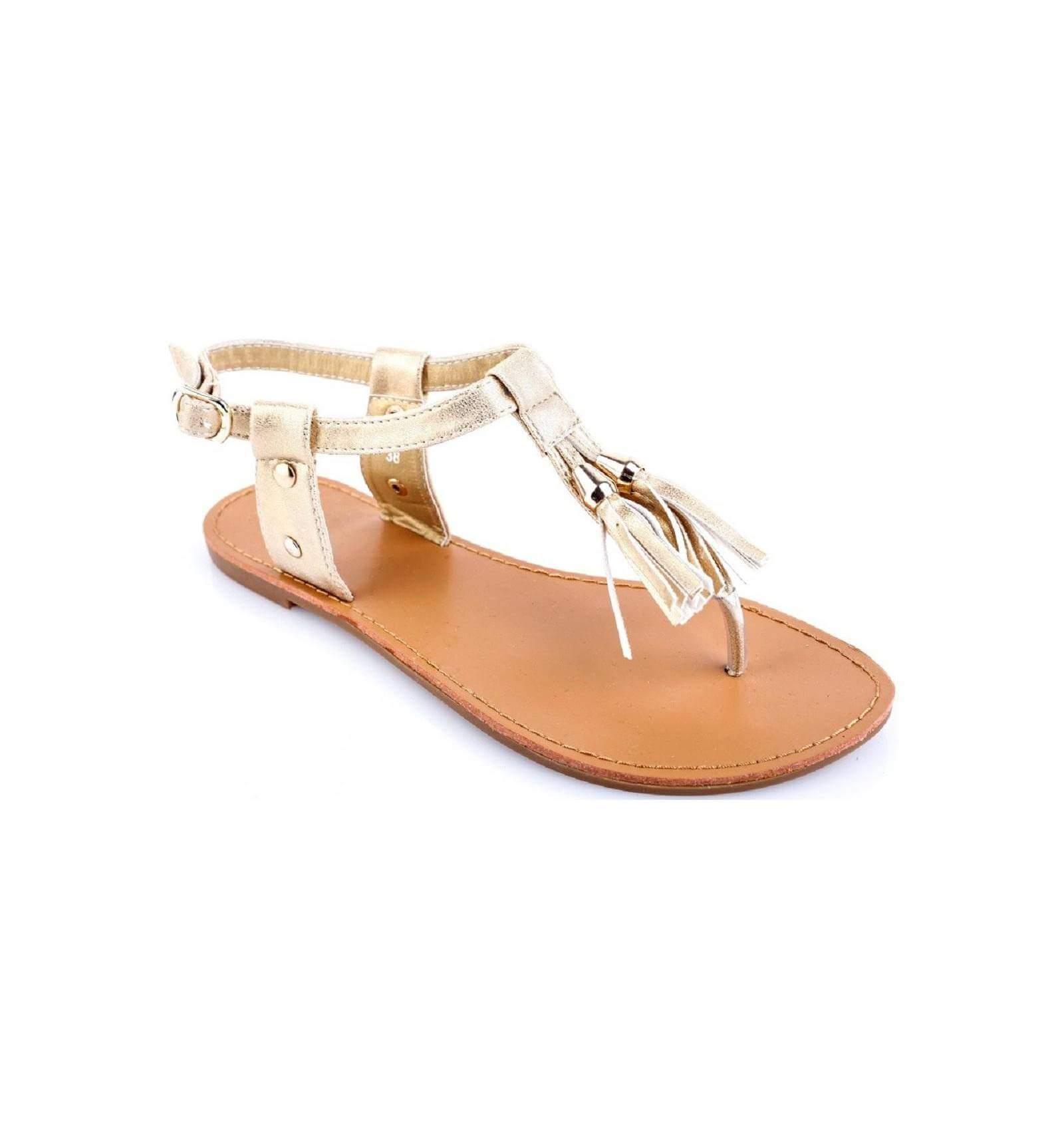 la paire de sandale pretty simili cuir frange dor e ultra. Black Bedroom Furniture Sets. Home Design Ideas