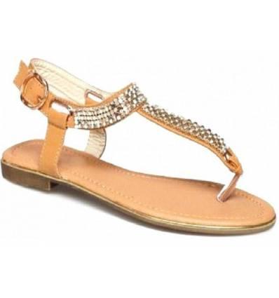 Sandales femme à strass camel ARIANE