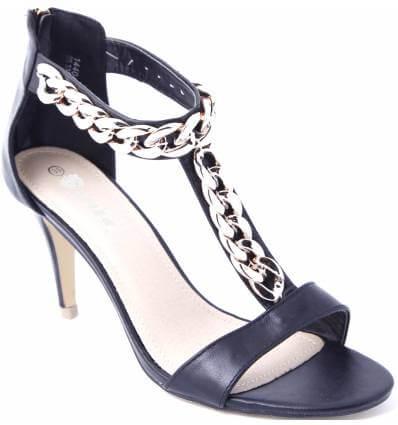 Sandales noires à talon avec chaîne dorée et zip FIAMA