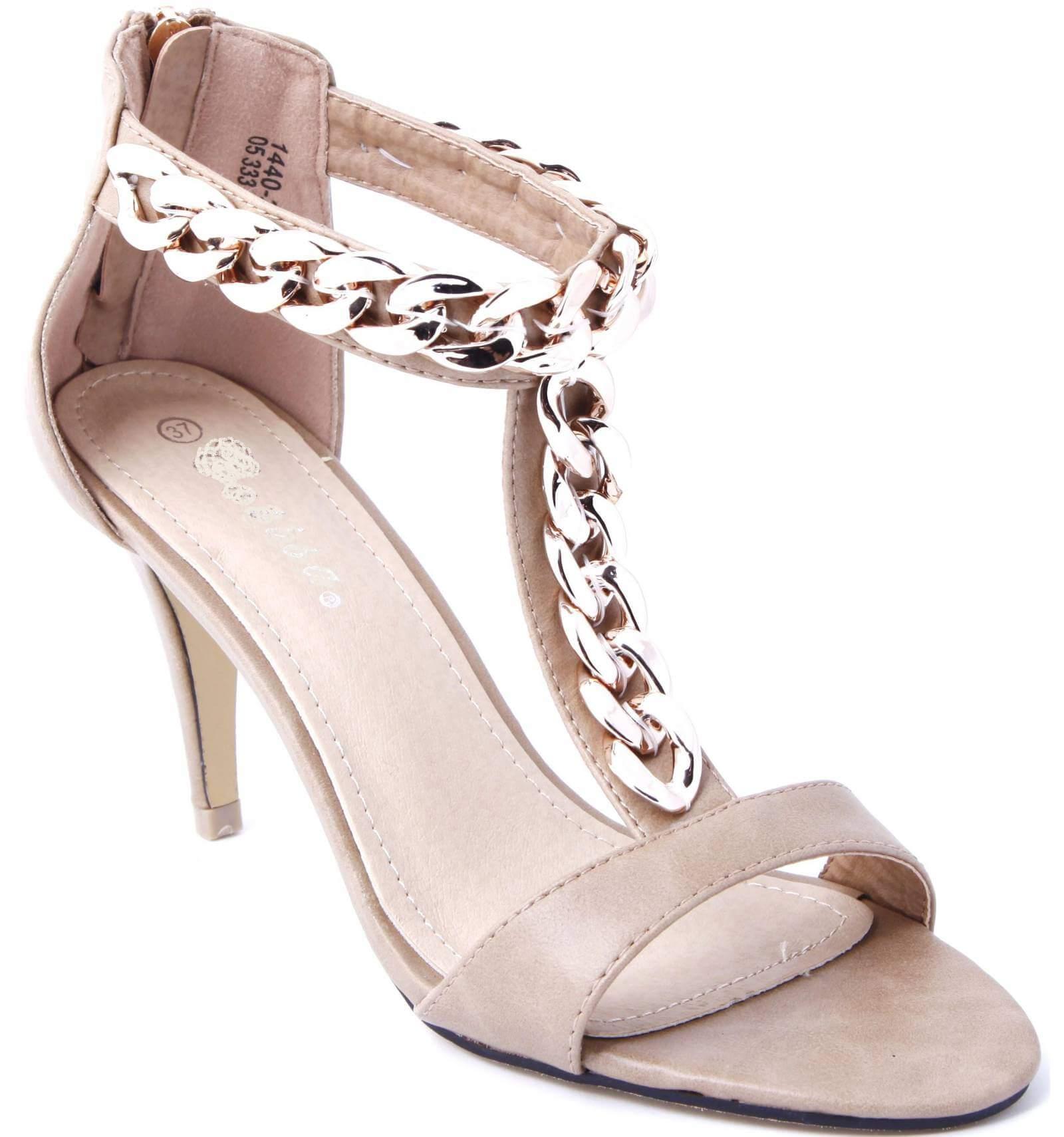 sandale femme simili cuir taupe talon avec cha ne dor e. Black Bedroom Furniture Sets. Home Design Ideas