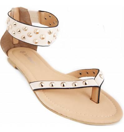 Sandales femme beige à clous dorés Anaëlle
