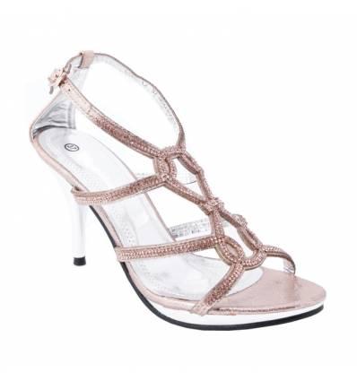 Chaussures de soirée à strass champagne ELVIRA