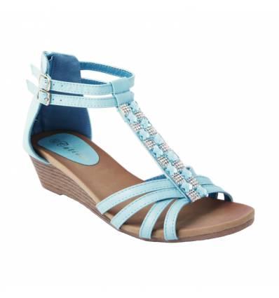 Sandale compensée à brides avec strass bleu JOHANNA