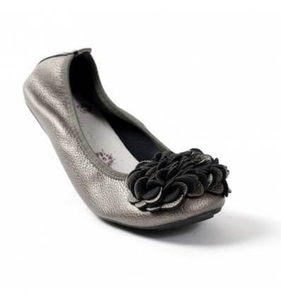 ef50704f215d1 Ballerine gris métal pour femme qualité supérieure à fleurs MONCEAU