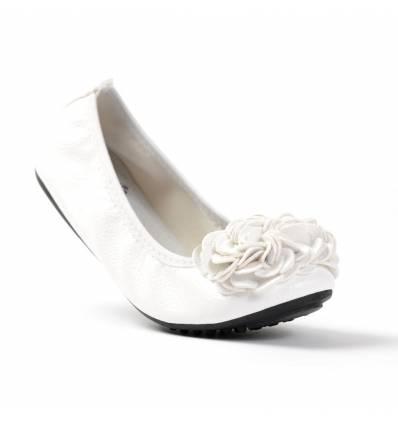 Ballerines blanches femme à fleur MONCEAU