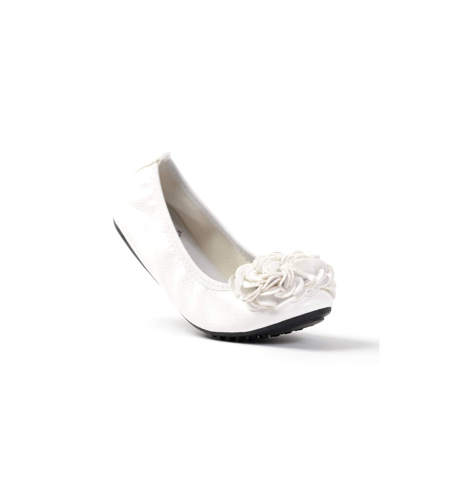 ballerine blanche femme simili cuir souple fleur mod le monceau. Black Bedroom Furniture Sets. Home Design Ideas