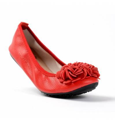 Ballerines rouge femme avec fleur MONCEAU