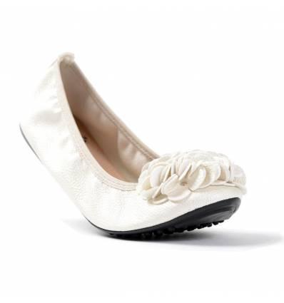 Ballerines blanc cassé femme à fleur MONCEAU