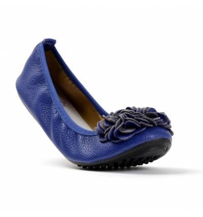 Ballerines bleu royal femme à fleur MONCEAU