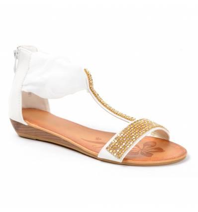 Sandales compensées à strass blanc Méléna