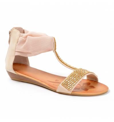 Sandales femme compensées strass beige Méléna