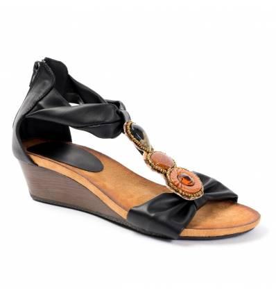 Sandales compensées noires avec bijoux BOLLYWOOD