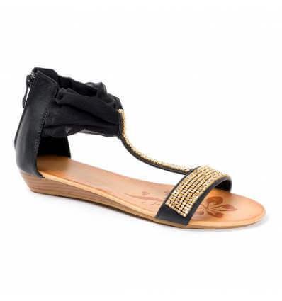 Sandales femme compensées strass noir Méléna