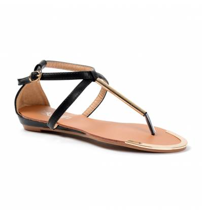 Sandales compensées noires à tige dorée MATHILDE