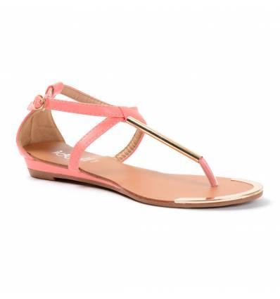 Sandales compensées corail à tige dorée Mathilde