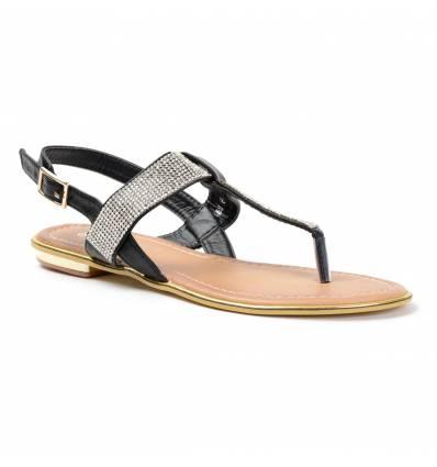Sandales femme noires à strass CELIA