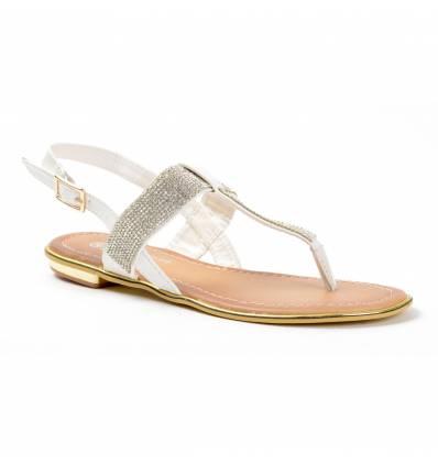 Sandales femme blanches à strass CELIA
