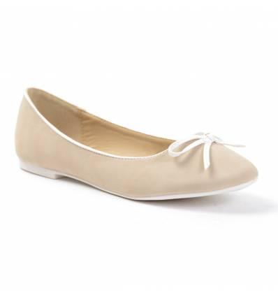 Ballerines femme beige simili cuir CLAIRE
