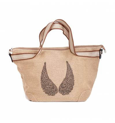 Sac shopping à strass camel Ailes d'Ange