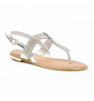 Sandales femme argentées à strass CELIA
