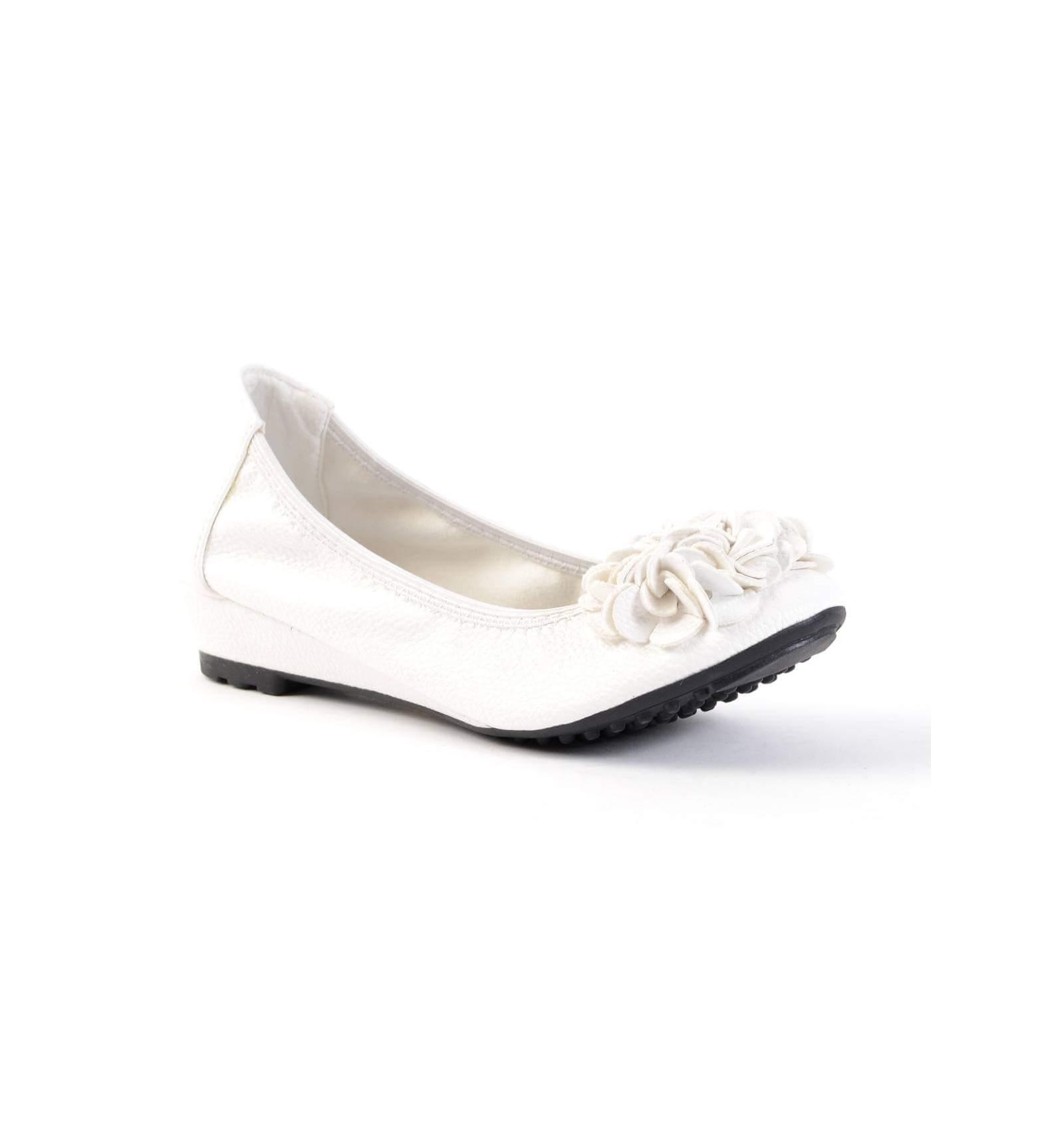 fef1719c0ef5f Ballerine femme souple compensée granulé blanc à fleur BELLEVILLE