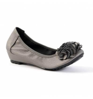 Ballerines femme compensées gris métal à fleur BELLEVILLE